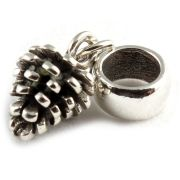 Pine Cone 3D Sterling Silver Dangle Charm / Carrier Bead